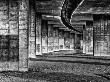 Under the Bridge - 1 Black and White by DeTea