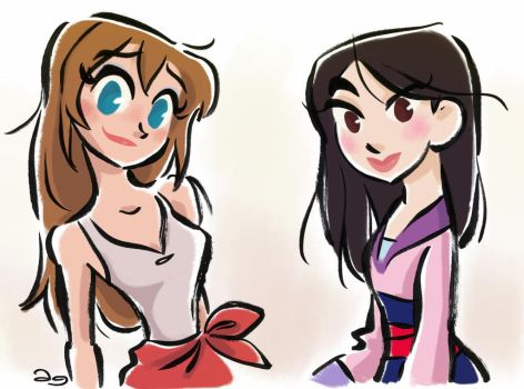 Disney's Jane Porter and Fa Mulan by princekido