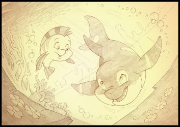 Spot And Flounder by sherwoodwhisper