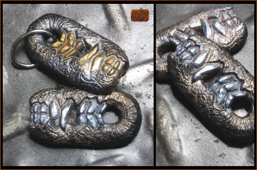 Silver and Gold Maw Pendants by CopperCentipede