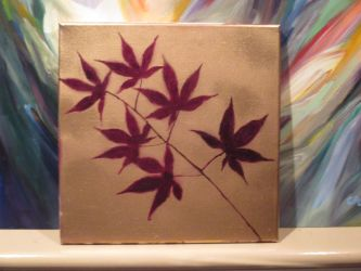 Maroon Spray Painted leaves final by Mistress-of-Emotions