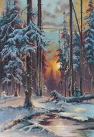 Winter Sunset in a Fir Forest by aksanava
