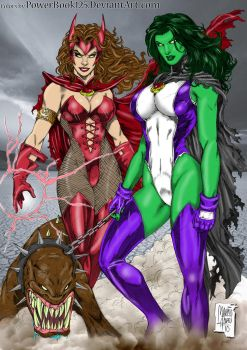 She Hulk Scarlet Witch by Marcio Abreu Colored by powerbook125