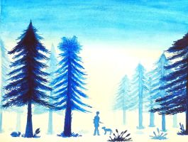 Snow Fog in Pine Forest (Painting Art) by komi114