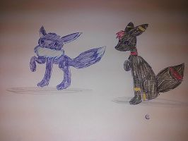 My brother and me being pokemons by Shadowredenderman