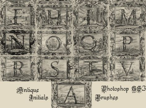 Antique Initials - PS Brushes by ViiviliciousWitch