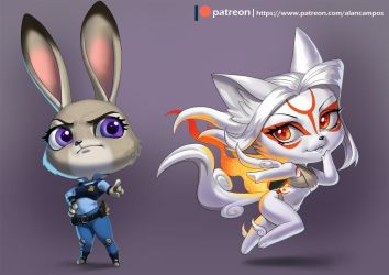 Judy and Amaterasu Chibi by playfurry