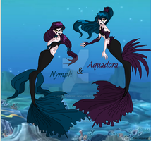 Nymph and Aquadora-The sea witch daughters by Loveyraspberry