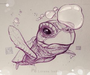 Bubbles collector sea turtle by Loisa