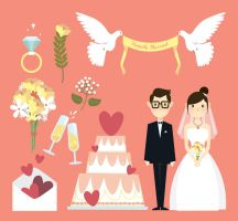 8 Creative Wedding Elements Vector by FreeIconsdownload