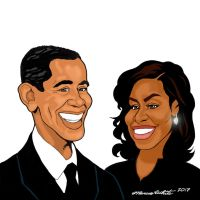 Barack and Michelle Obama Cartoon by MarcusTheArtist