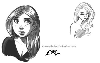 Head Sketches by em-scribbles