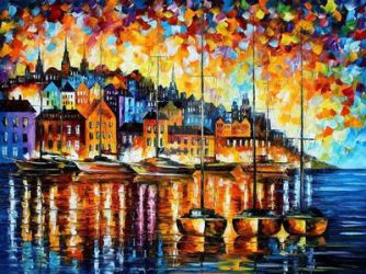 HARBOR OF CORSICA by Leonid Afremov by Leonidafremov