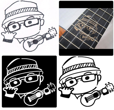 Caricature of Manny with a ukulele for inlay by ojneb12