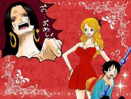 Luffy, Nami and Hancock by GinThePsycho