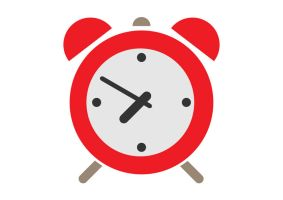 Red Alarm Clock Flat Icon by superawesomevectors