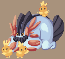 swampert and chicks by Tepig