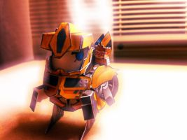 Chibi BumbleBee with Raph on his shouler by wulongti