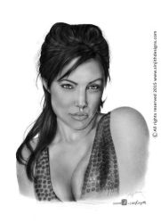Angelina jolie - Realistic pencil drawing by sinjith