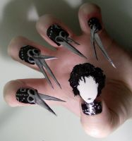 Edward Scissorhands Nail Art by KayleighOC