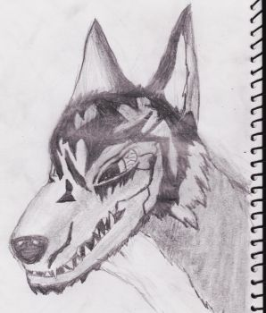 First Wolf Drawing (updated) by SpyrozTheBest