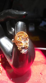 fire agate and copper ring by Xivanari