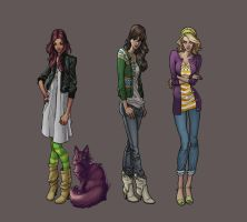school girls character designs by synthezoide
