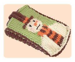 Christmas Snowman Knitted Mobile Phone Cover by AmareeLis