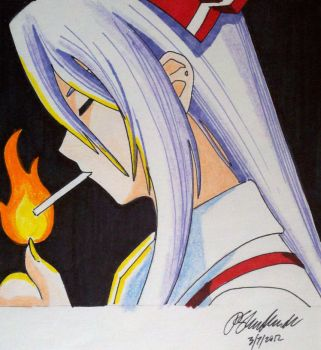 Touhou Mokou, lighting up by Panzer-13