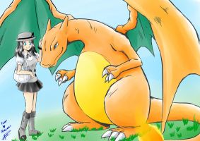 Pokemon X - my trainer and charizard by AyaYanagisawa