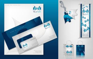 BlueBells logo and products by workstation