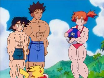Ash, Misty and Brock Buffed At Beach (Muscle Edit) by Ducklover4072
