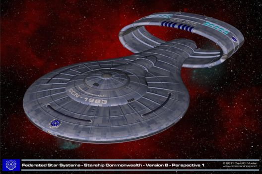 Starship Commonwealth Version B Perspective 1 by dcmstarships