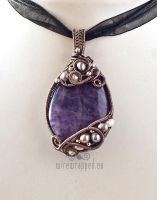 Amethyst and pearls wire wrapped pendant by ukapala