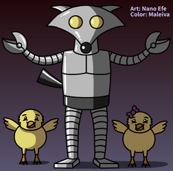 Robot fox and his chicks by Maleiva
