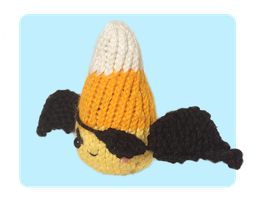 Devil Candy Corn Knitted Toys wearing Eye Patch by AmareeLis