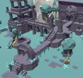 Low poly Temple ruins by Mokazar