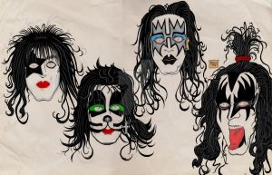 KISS Portraits Inks and Sketch by JesseAllshouse