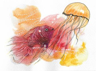 (Gold)Fish And (Jelly)Fish by RhyssaFireheart