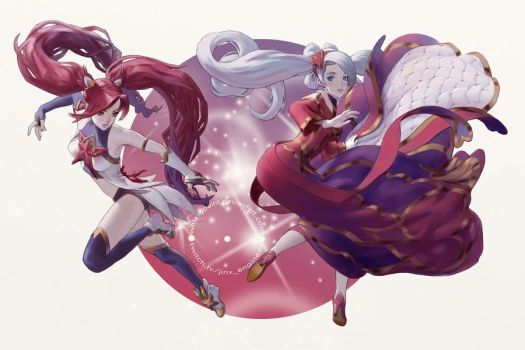 Jinx and Sona fan art commission by whiskypaint