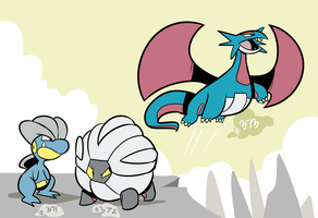 Bagon, Shelgon, Salamence by RoastedStix
