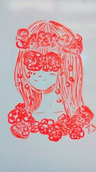 Whiteboard Doodle #7 Flower Girl by Takis-sama