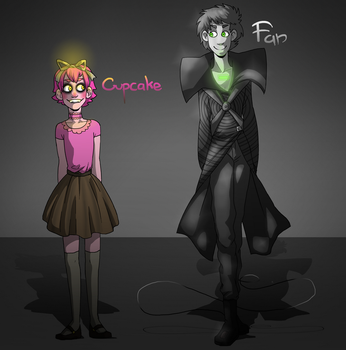 FNAF Cupcake and Fan Gijinkas by NEOmi-triX