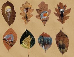 Painted Leaves by ThreeLeaves