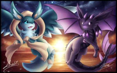 Collab With Linachi0 - Draceon and Aereon by ShupaMikey