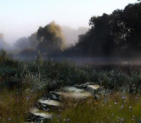 Misty Morning Background by Nitwitbrit