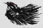 Mono-print Crow by Neilhuang