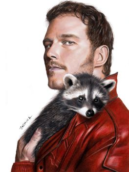 Drawing of Chris Pratt as Star-Lord with raccoon by JasminaSusak