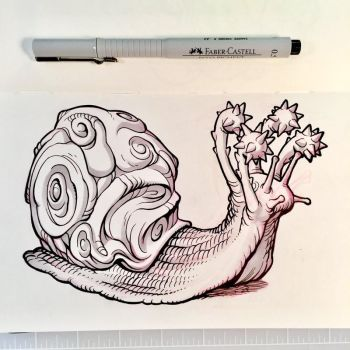 Inktober Day 18 - FLAIL SNAIL by D-MAC