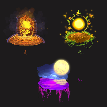 Pixel-Islands concept sketches by Seiorai
